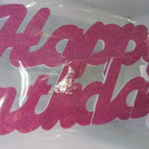 Cerise pink happy birthday polystyrene banner
