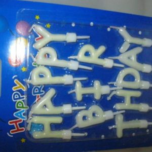 Happy birthday candle set glow in the dark