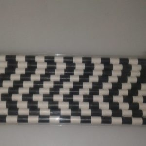 Vintage paper straws black and white check 20 per pack