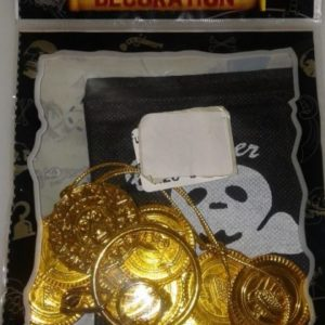 Pirate material bag with gold coin plastic set