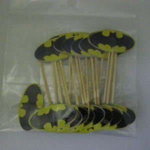 Batman food picks logo shape 20 per pack.