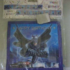 Batman happy birthday banner blue blocks