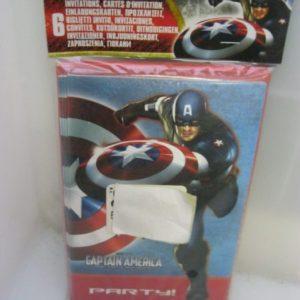 Captain America invitation cards 6's