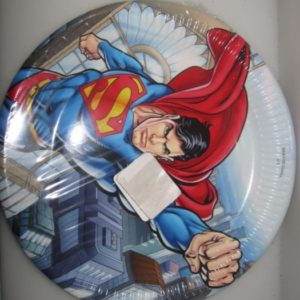 Superman paper plates 23cm wax coated, 8 per pack
