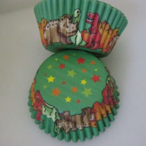 Dinosaur themed cup cake papers 50s