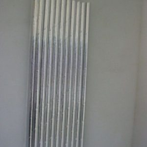 Metallic silver paper straws 20 per pack