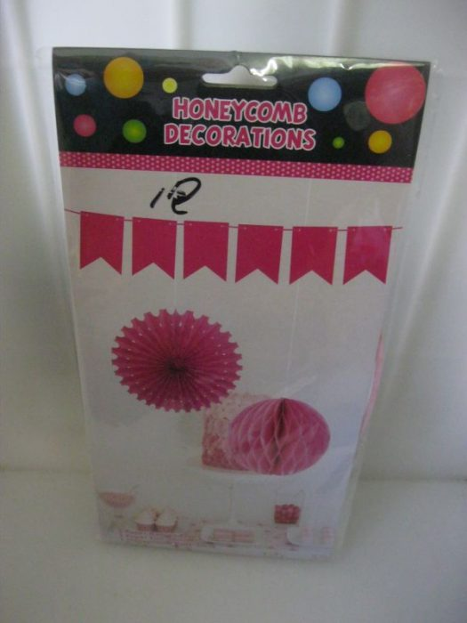 Honeycomb Decor Set 3 Piece Light Pink Fun Creations