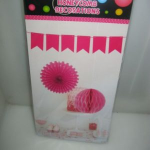 Honeycomb decor set 3 piece cerise pink