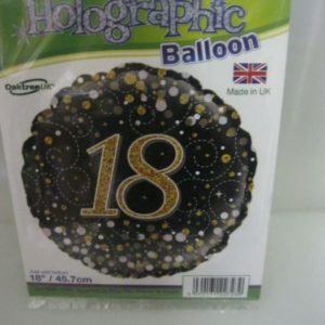 18th Birthday foil balloon holographic 45cm black and gold