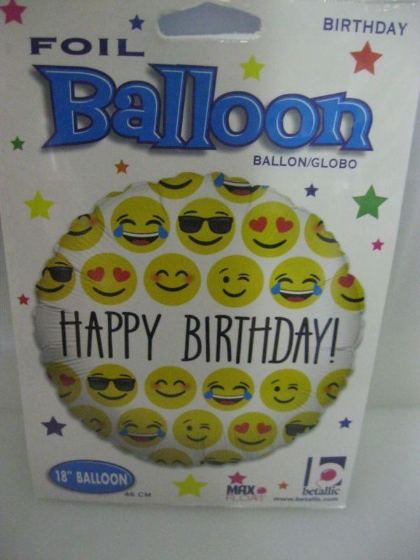 Happy Birthday Emoji Foil Balloon 46cm Round
