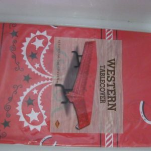 Cowboy plastic table cover red paesly print