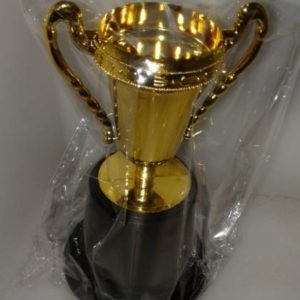Gold plastic trophy on black stand