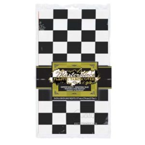 Black and white check f1 plastic table cover