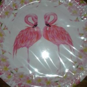 Flamingo paper plates large, 10 per pack.