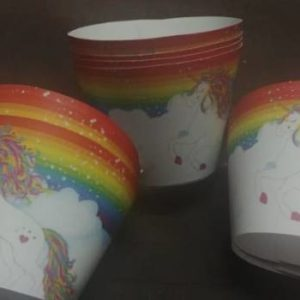 Rainbow unicorn cupcake wrappers, 10 per pack