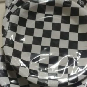 Black and white check paper plates 10 per pack.