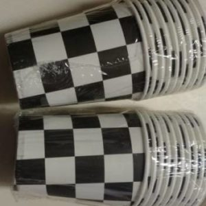Black and white check paper cups 10 per pack.