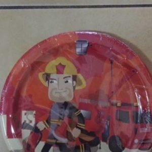 Fireman paper plates big, 10 per pack.