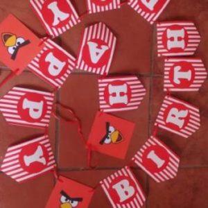 Angry birds happy birthday banner