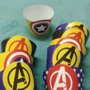Avengers cupcake wrappers.