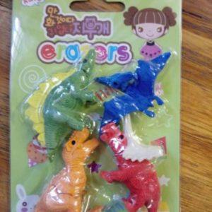 Dinosaur eraser favors. 4 per pack.