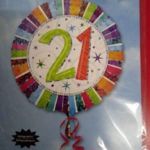 21st foil balloon 43 cm round rainbow colors