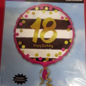 18th birthday foil balloon 43 cm black,pink and gold.