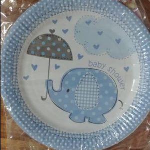 Baby shower blue elephant plates big