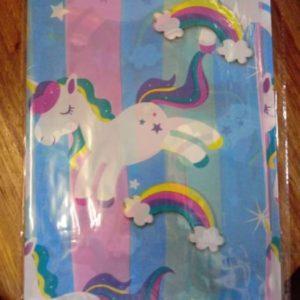 Unicorn plastic table cover rainbow main