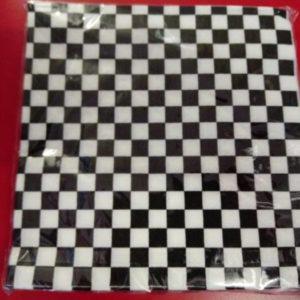 F1 black and white check serviettes small block