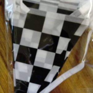 F1 black and white check bunting material