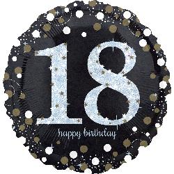 18th Birthday foil balloon 43cm, black