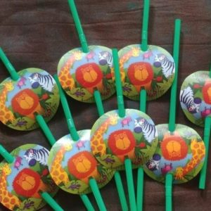 Wild animals party straws 8s