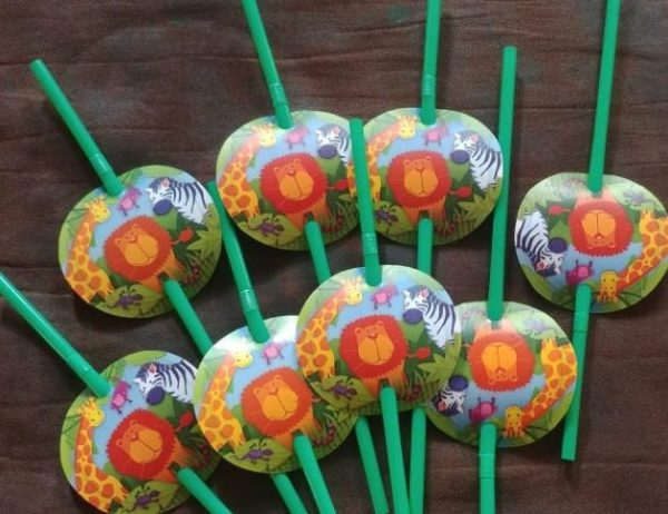 Wild animals party straws 8s