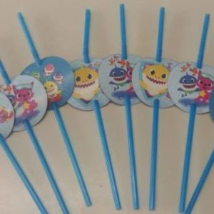 Baby shark party straws