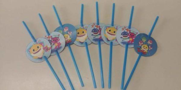 Baby shark party straws