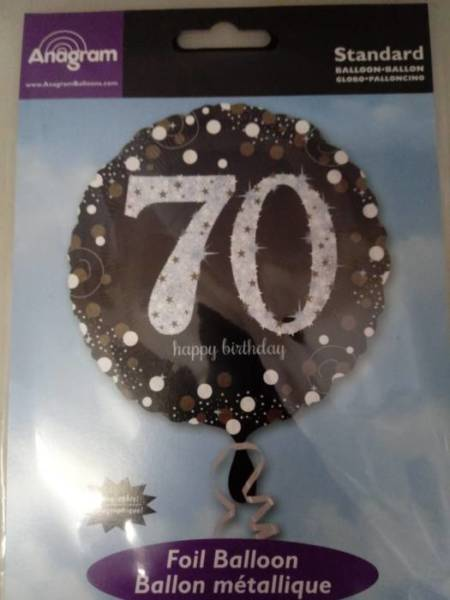 70th Birthday Foil Balloon Silver And Black