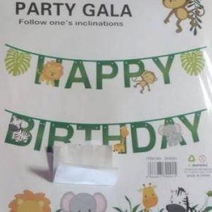 Wild animal happy birthday banner dye cut