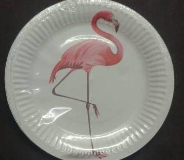 Flamingo paper plates small