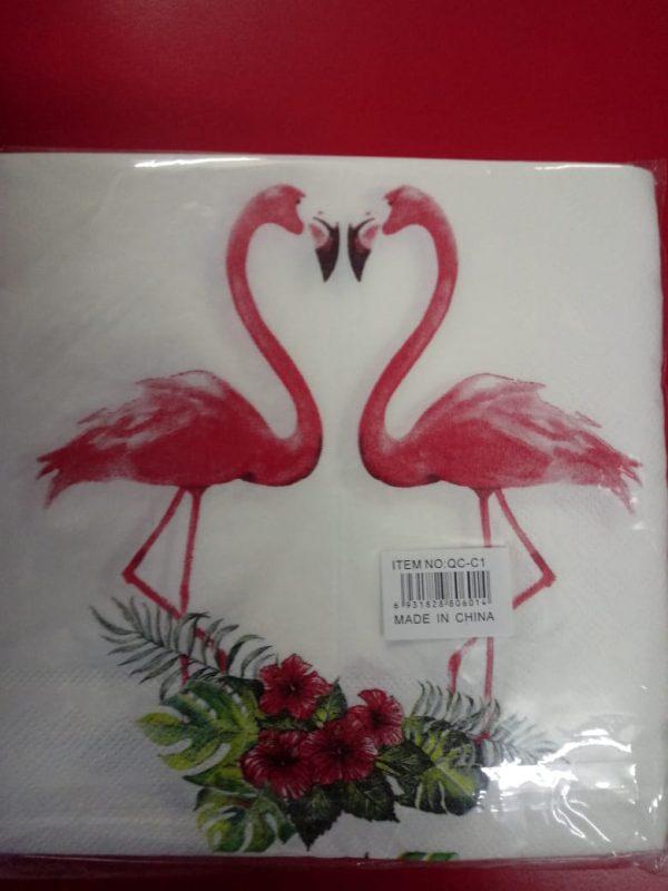 Flamingo serviettes 2-ply heart