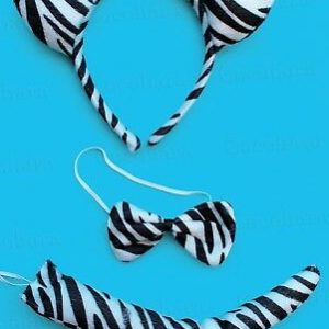 Zebra Headband Hairband With Ears Bow Tie Tail 3Pc Dress